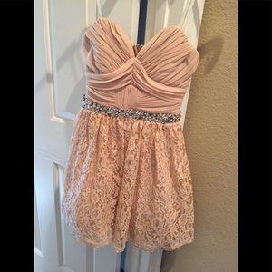 Peach Lace/Rhinestone strapless mini dress size 5