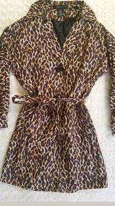 Nine West animal print lined rain trench coat jack