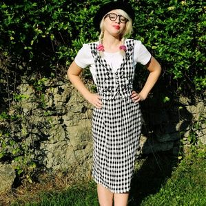 90s Black and White Checkered Dress