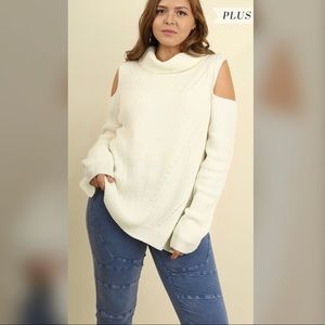 Sweaters - ✅✅PLUS✅✅Kelcie Cream Open Shoulder Sweater