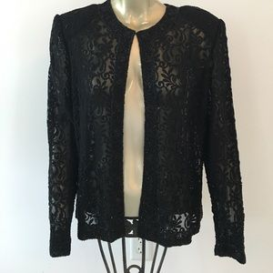 Jackets & Blazers - Gorgeous black beaded jacket --FITS A MEDIUM
