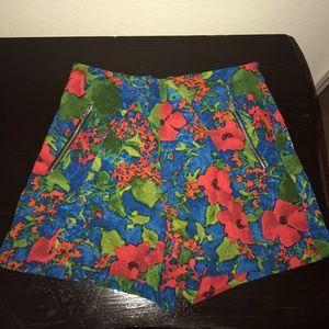 Zara Basic Floral Print High Waisted Shorts