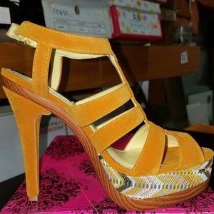 Mustard Strappy Heels