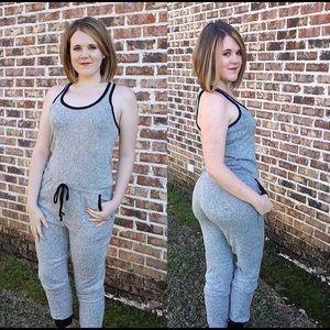 Pants - Heather Grey Jogger Romper