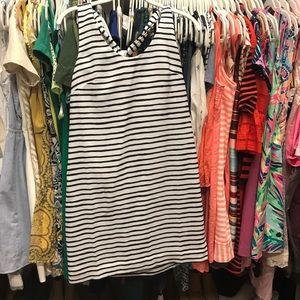 JCrew Factory black, white stripe dress, size 2