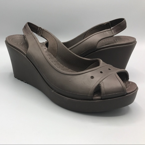 d167286f6 CROCS Shoes - Crocs Farrah Peep Toe Wedge Slingback Brown 10