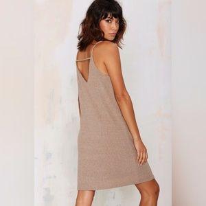 Ribbed Knit Back Strap Dress