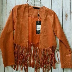 Jackets & Blazers - Faux suede lightweight fringe jacket