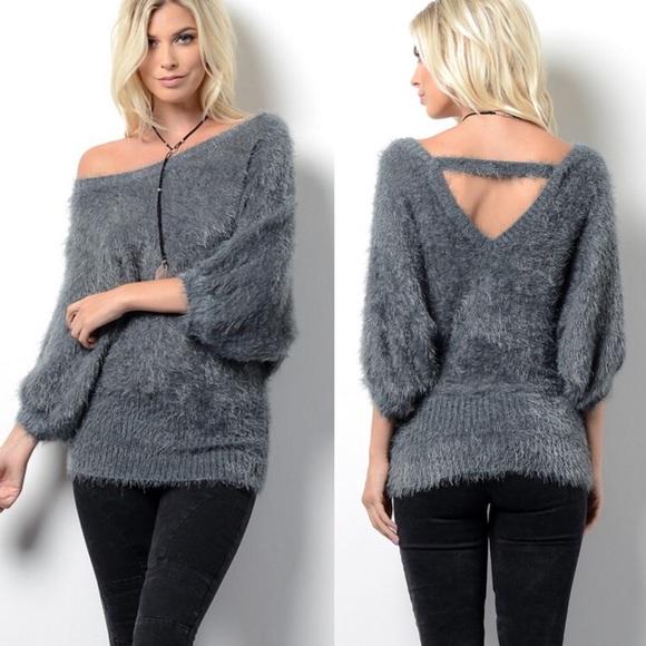 416e12b32b739 BELLA Softest Sweater Top - CHARCOAL