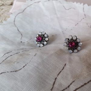 Bright Pink Floral Studs