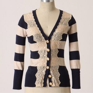 Anthropologie Field Game Cardigan navy lace XS