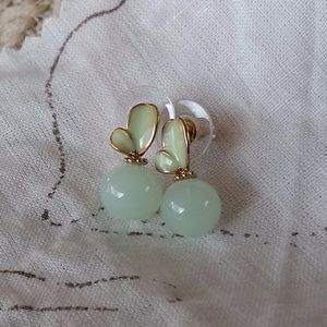 Jewelry - Jade and Gold Butterfly Earrings