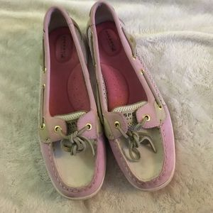 EUC pink leather and net Sperry - size 9