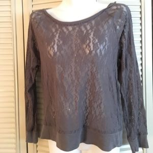 VS Pink gray lace top - large