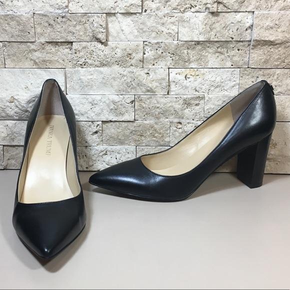 Ivanka Trump Lysa Black Leather Pointy Toe Pumps