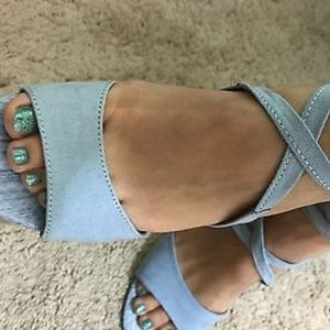 2/$80 Laced up baby blue heels new size 7
