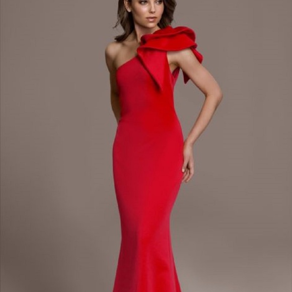 0bed9b15 Betsy & Adam Dresses | Betsy Adam Ruffled Oneshoulder Scuba Gown Red ...