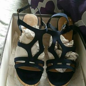 Shoes - Eve & Zoe Navy Blue Wedges