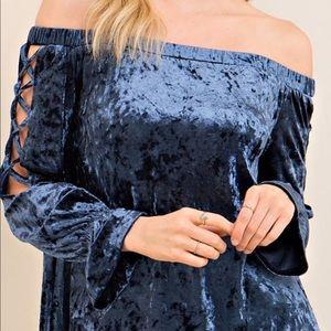 Tops - Crushed velvet blue off the shoulder top. HP 🎉🎉