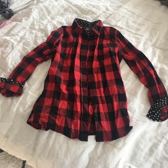 cf36242c6 Ampersand Ave Tops | Black And Red Buffalo Check Shirt W Polka Dot ...