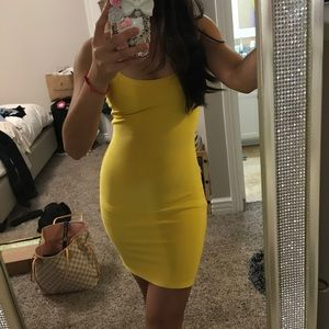 Dresses & Skirts - Yellow Bandage Dress strappy back mini club