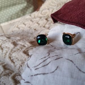 Large Dark Green Jeweled Studs
