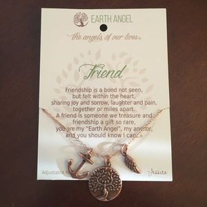 Earth Angel Friend Anchor Necklace Copper
