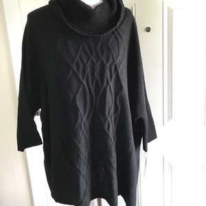 AB Studio cable knit poncho sweater