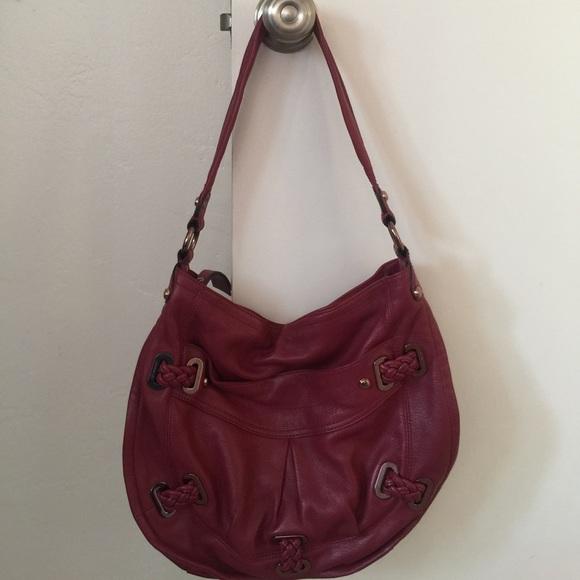 Bags   B Makowsky Red Leather Shoulder Bag Closet Clear   Poshmark 5a02c4b3fc