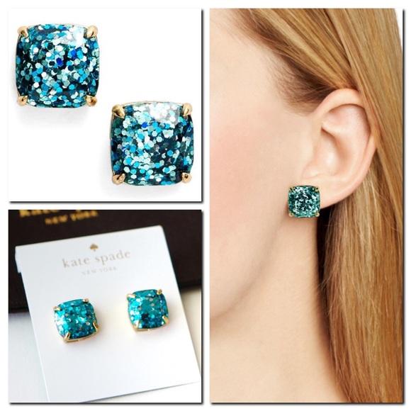 b1888e25f kate spade Jewelry | Glitter Square Stud Earrings Blue | Poshmark