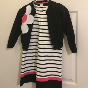 Gymboree black and white dress with sweater