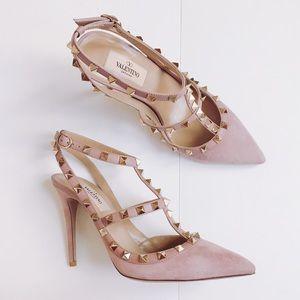 Valentino Shoes Rockstud Suede Pumps Heels Dusty Pink