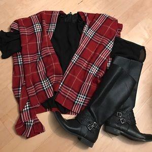 Accessories - Plaid blanket scarf poncho