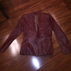 Genuine leather vintage blazer
