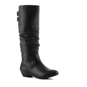 Steve madden black leather wide calf boots