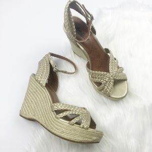 Lucky Brand Gold Metallic Braided Espadrille Wedge
