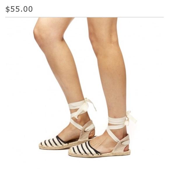 3cbb427b0662 Never worn Soludos ankle wrap striped sandal. M 59a7700efbf6f9837000bcc5