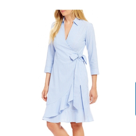 5ea95c6b6e0 Ivanka Trump Side Wrap Ruffle Hem Stripe Dress