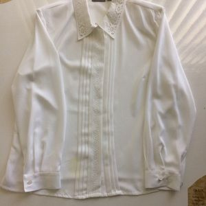 Croft and Barrow Embroidered Shirt White Size XL
