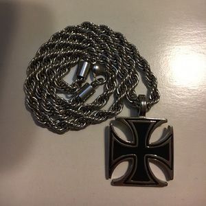 Other - Silver Cross necklace pendant w/ rope chain
