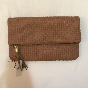 Handbags - NWT Brown woven clutch bag
