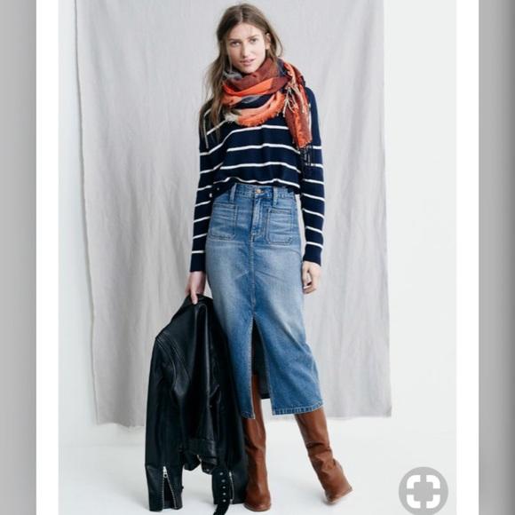 46a659b541 Madewell Skirts | Denim Midi Skirt In Redding Wash Size 26 | Poshmark