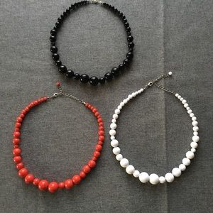 Jewelry - Red, White and Black Beaded Statement Necklace