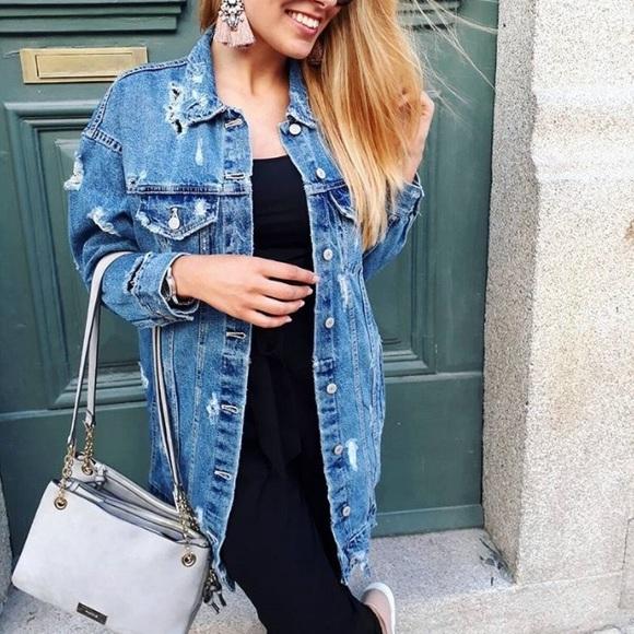 54ff1fcd83 Zara Distressed Long Denim Jacket NWT