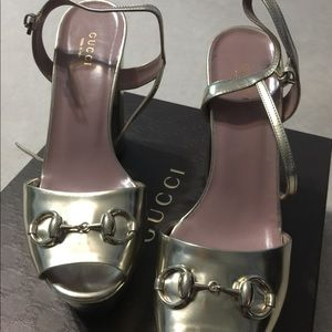 Gucci Shoes - Gucci Claudie Patent Gold Chunky heel sandal 38.5