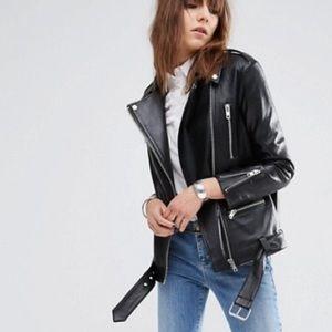 🔥Longline Biker jacket- REAL Leather, like new
