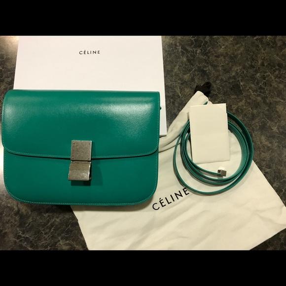 ceaf9d8e90c6 MEDIUM CLASSIC BOX BAG IN BLUE GREEN BOX CALFSKIN. NWT. Celine.  2200   4350. Size. OS. Buy Now