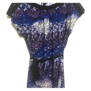 Split sleeve blouse. Blue and purple blouse. Small