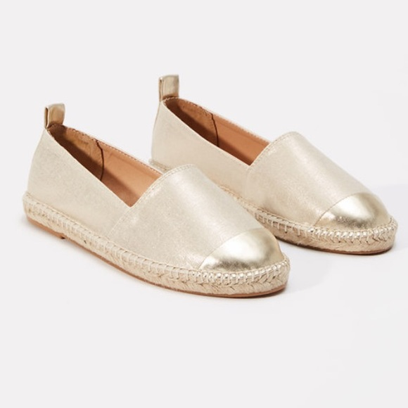 63db496bc LOFT Shoes | Nwt Gold Metallic Cap Toe Espadrilles | Poshmark