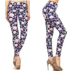 MEGA SOFT Brushed Knit Navy & Pink Floral Leggings